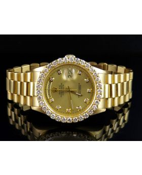 Rolex President 18K Yellow Gold Day-Date President Red Dial Diamond Watch (4.25 Ct)