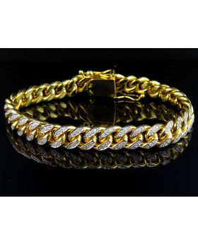 Solid 10K Yellow Gold Miami Cuban Link Diamond 8.5 inch 9.5MM Bracelet (3.0 Ct)