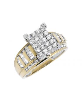 Ladies 10K Yellow Gold Round Baguette Real Diamond Engagement Ring (1.0ct)