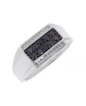 Men's White Gold Finished Black and White Diamond Pinky Ring (0.70ct.)