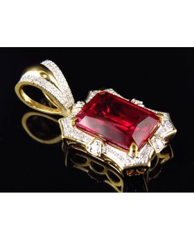 Yellow Gold Finish Royal Created Ruby Real Diamond Pendant Charm (0.40ct)