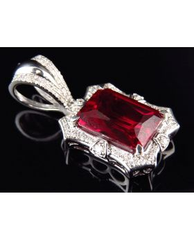 White Gold Finish Royal Created Ruby Real Diamond Pendant Charm (0.40ct)