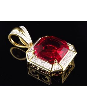 Yellow Gold Finish Asscher Cut Royal Created Ruby Diamond Pendant (0.50ct)