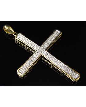 10K Yellow Gold Two Row Diamonds Cross Pendant Charm 2 inch (0.35ct)