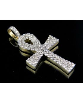 Solid 10K Yellow Gold Real Diamond Ankh Cross Pendant 1.50ct