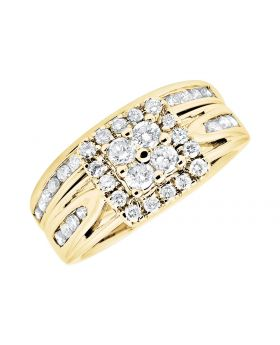10K Yellow Gold Ladies Solitaire Infinity Engagement Wedding Bridal Ring Set 0.51Ct