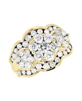 14K Yellow Gold Three Stone Cluster Diamond Fashion Engagement Cocktail Ring 3.0Ct