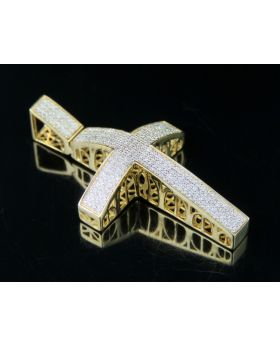 Mens 10K Yellow Gold Dome Cross Diamond Pendant 0.53 Ct 1.75""