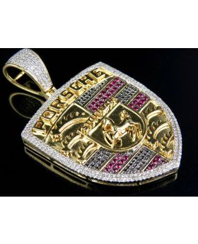 10K Yellow Gold Porsche Ruby Black Real Diamond Pendant 1.85 ct 2.2""