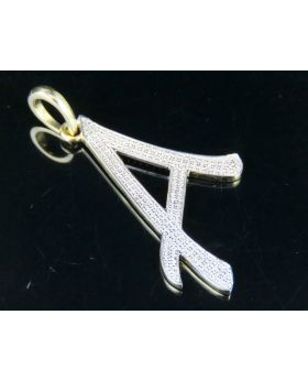 10K Yellow Gold Diamond Letter A Initial Pendant 0.50 Ct 1.75""