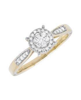 10K Yellow Gold Halo Round Prong Set Engagement Wedding Fashion Ring 0.25ct