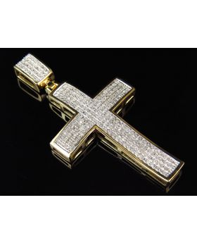 Men's Yellow Gold Pave-set Diamond Pendant Charm 2 inch (1.0ct)