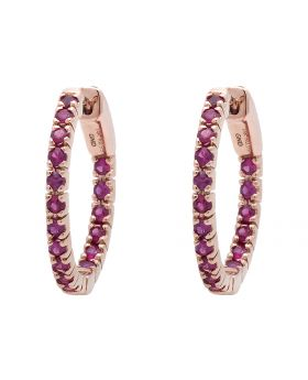 Ladies Rose Gold Inside-Out Style Prong Set Fashion AAA Ruby Hoops (0.99ct)