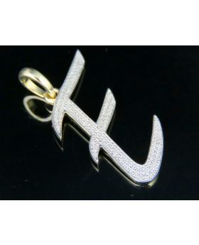 10K Yellow Gold Diamond Letter E Initial Pendant 0.50 Ct 1.6""