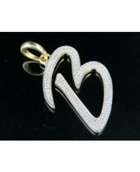 10K Yellow Gold Diamond Letter B Initial Pendant 0.50 Ct 1.75""