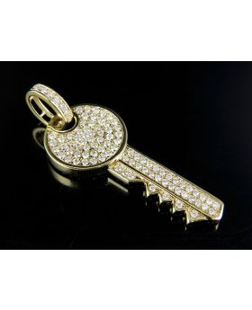 14K Yellow Gold Real Diamonds Iced Key Pendant 1.70ct 1.9""