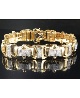Yellow Gold Over Sterling Silver Pave Block Real Diamonds Bracelet 1.30ct