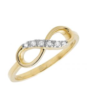 Ladies Yellow Gold Diamond Infinity Knot Engagement Fashion Cocktail Ring (0.05ct)