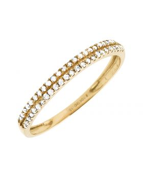 Ladies Yellow Gold Two Rows Diamonds Engagement Wedding Bridal Band (0.15ct)