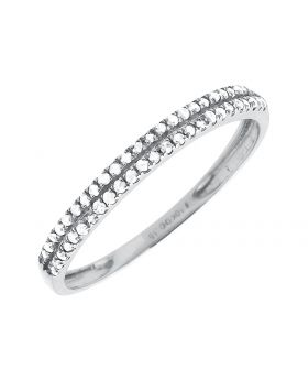 Ladies White Gold Two Rows Diamonds Engagement Wedding Bridal Band (0.15ct)