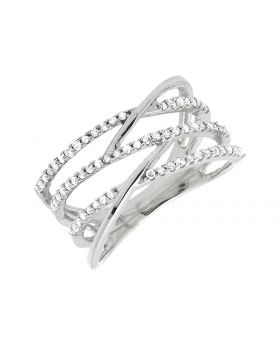 10K White Gold Linear Criss-cross Diamond Engagement Fashion Ring 0.40Ct