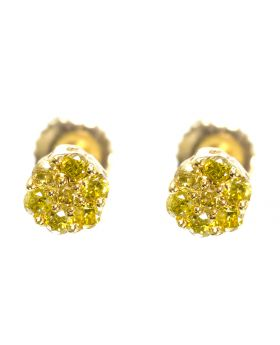 Flower Earrings with Yellow Diamonds (0.25ct)