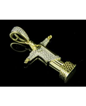 "10K Yellow Gold Jesus ""Christ the Redeemer"" 0.20ct Diamond Pendant Charm 1.25"""