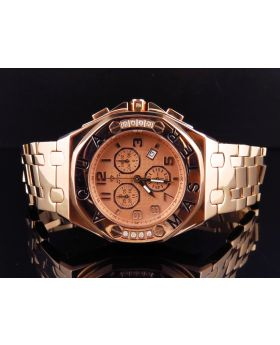Mens Aqua Master AP 45 MM Rose Stainless Steel Diamond Watch W#340 0.24 Ct