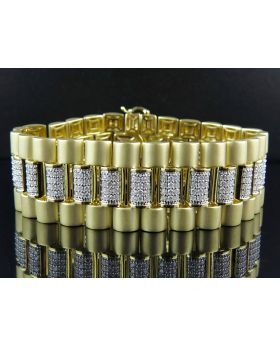 Full Cut Presidential Style 27 MM Diamond Bracelet in Yellow Gold (8.37 Ct)