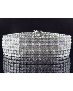 6 Row Diamond 8.5 Inch Bracelet Finished in White Gold