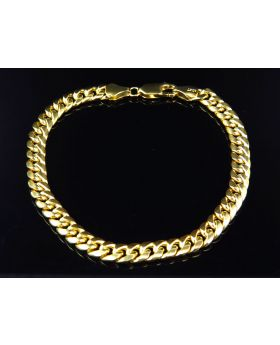 Men's 10K Yellow Gold Hollow Miami Cuban Style Bracelet 6MM