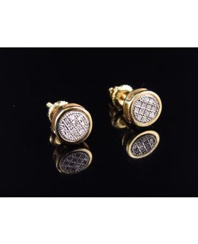 10K Yellow Gold Round Diamond Bezel Earrings 0.10 Ct