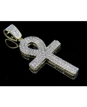 10K Yellow Gold Ankh Cross Three Row Diamond Pendant Charm 2.22 CT