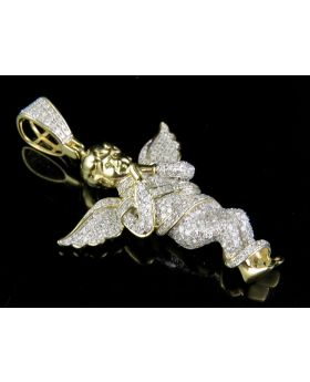 10K Yellow Gold Genuine Diamond Iced Out Directing Angel Pendant 7/8 CT  1.6""