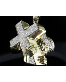 10K Yellow Gold Jesus Christ Carrying Cross Genuine Diamond Pendant 1.5Ct