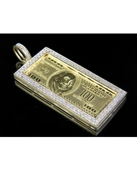 10K Yellow Gold 100 Dollar Bill Currency Diamond Pendant Charm 6/10 CT 2.1""