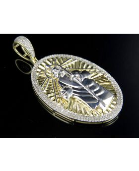 Men's 10K Two-Tone Gold Jesus Medallion Charm Pendant 0.75 ct