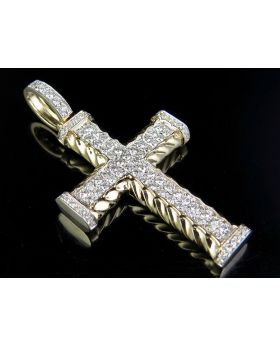 Men's 10K Yellow Gold Rope Cross 2 Rows Real Diamond 2 Inch Pendant Charm 1 7/10 Ct