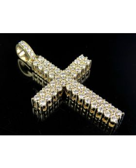 Men's 14K Two Row Prong Cross Genuine Diamond Pendant Charm 1 4/5 Ct 1.6 Inches