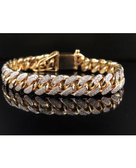 10K Yellow Gold Miami Cuban Link Diamond 8.5 inch 11.1MM Bracelet (7.5ct)