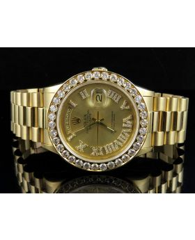 Rolex President 18K Yellow Gold Day-Date Champagne Dial Diamond Watch (6.0 Ct)