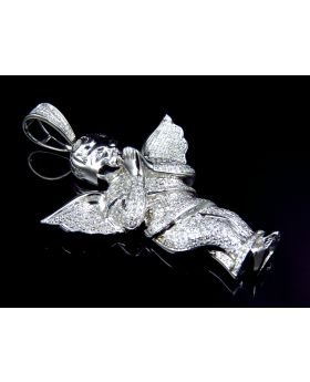 Large Iced Out Diamond Angel Pendant in 10k White Gold (1.5 ct)