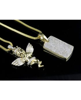 "10K Cherub and 10K Dogtag Pendants (1.15ct) Set with 2 10K Franco Chains 22"" & 24"""