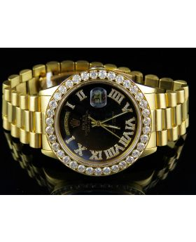 Rolex President 18K Day-Date with Custom Diamond Beaded Bezel (5.3 Ct)