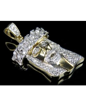 10K Yellow Gold Jesus Piece Diamond Pendant 1.25 ct