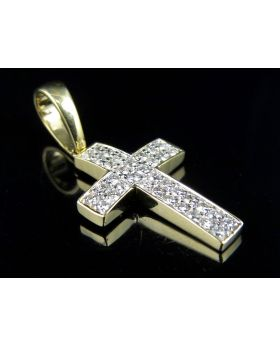 Yellow Gold 2 Row Pave Diamond 1.2 Inches Cross Pendant 0.5 ct