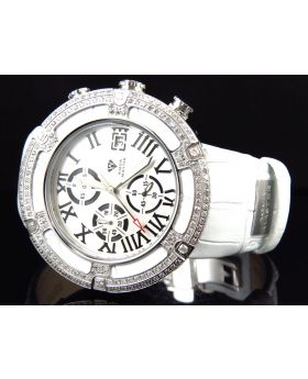 Aqua Master W#346 El Russo White Leather Diamond Watch 46 MM (5.35 Ct)