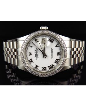 Rolex Datejust Jubilee Stainless Steel with White Dial Diamond Watch (2.0 Ct)