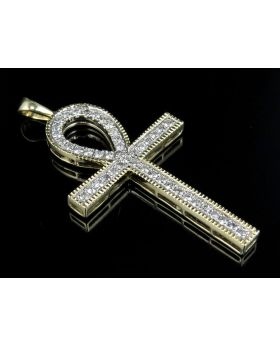 Men's 10K Yellow Gold Milgrain One Row Ankh Cross Pendant 1.50ct 2.1""