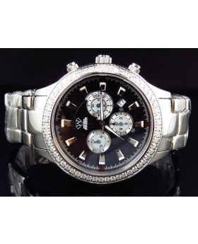 Aqua Master Black Chrono Diamond Watch W#141 (2.45 Ct)